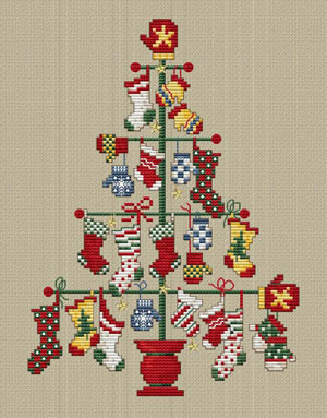 Sue Hillis Designs - A Pair Tree-Sue Hillis Designs, A Pair Tree, stockings, mittens, Santa Claus, Christmas tree, snowflakes, gifts, Christmans presents, Cross Stitch Pattern
