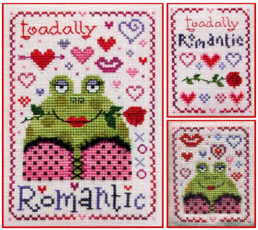 Stitchy Kitty - Toadally Romantic-Stitchy Kitty,  Toadally Romantic, toad, frog, valentines day, hearts, love, red lips, red roses,  Cross Stitch Pattern