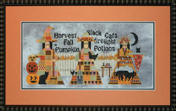 Ship\'s Manor - 3 Witches - Cross Stitch Pattern-Ship's Manor, 3 Witches, pumpkins, black cat, fire, potion, harvest, witches brew,  Cross Stitch Pattern