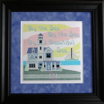 Ship's Manor - Village Home Series - By the Sea - Cross Stitch Pattern-Ships Manor, By the Sea, Village Home Series, lighthouse, sailboat, victorian house, ocean, Cross Stitch Pattern