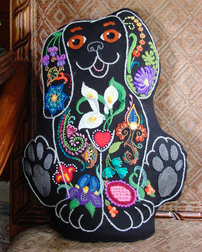 The Tapis-Tree - Snazzy Dog Kit-The Tapis-Tree, Snazzy Dog Kit, crewel, embroidery, pillow,