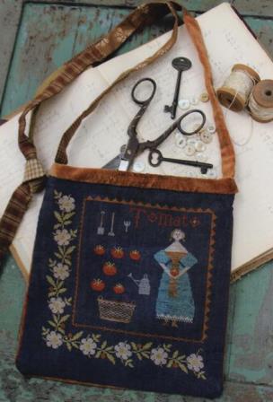 Stacy Nash Primitives - Tomato Harvest Sewing Bag-Stacy Nash Primitives - Tomato Harvest Sewing Bag, summer canning, vegetables, harvest,