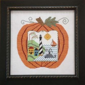 Samplers Revisited - Great Pumpkin Seaside-Samplers Revisited - Great Pumpkin Seaside, ocean, beach, sea, pumpkins, fall, summer, lighthouse, cross stitch