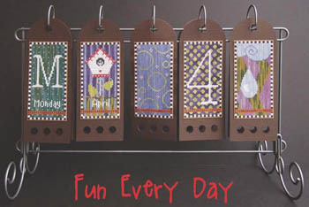 SamSarah Design Studio - Fun Every Day - Part 04 of 12 - April - Cross Stitch Calendar-SamSarah Design Studio, Fun Every Day, Part 04 of 12, April, Cross Stitch Calendar, perpetual calendar,