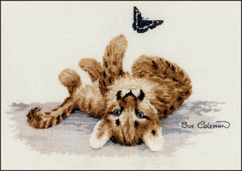 The Stitching Studio - Cougar Kitten-The Stitching Studio, Cougar Kitten,  kitten, butterfly, sue colemam, Cross Stitch Pattern