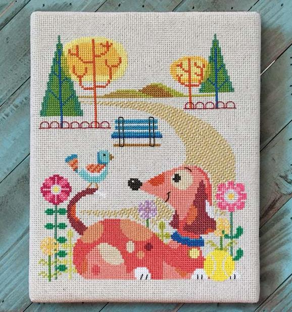 Satsuma Street - Dog Park-Satsuma Street - Dog Park, dogs, playing, dog walks, cross stitch