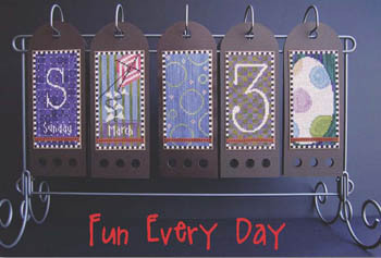 SamSarah Design Studio - Fun Every Day - Part 03 of 12 - March - Cross Stitch Calendar-SamSarah Design Studio, Fun Every Day, Part 03 of 12, March, Cross Stitch Calendar