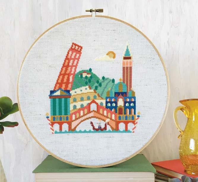 Satsuma Street - Pretty Little Italy-Satsuma Street - Pretty Little Italy, leaning tower of Pisa, cross stitch