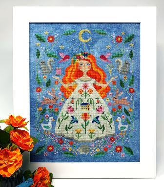 Tiny Modernist - The Stitch Goddess-Tiny Modernist - The Stitch Goddess, nature, birds, ducks, hedgehog, flowers, girl, moon, stitching, cross stitch
