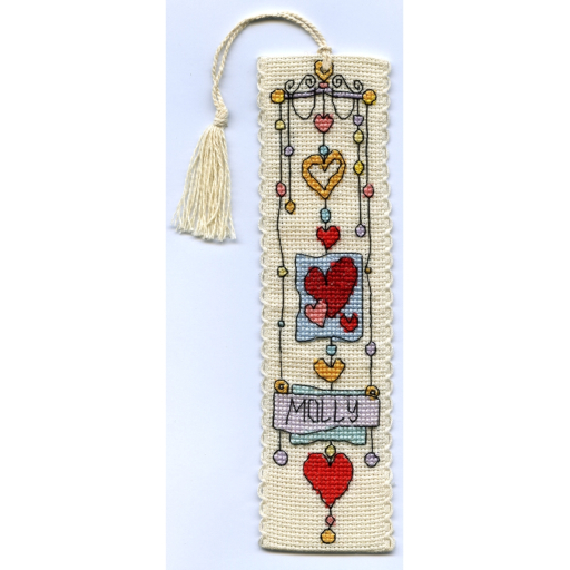 Michael Powell Art - String of Hearts Bookmark - Cross Stitch Kit-Michael Powell Art - String of Hearts - Bookmark Kit, hearts, love, reading, cross stitch,