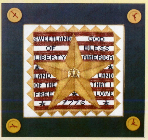 Hinzeit - Charmed - Star & Stripes - Cross Stitch Chart with Charm-Hinzeit, Charmed Star & Stripes - Cross Stitch Chart with Charm