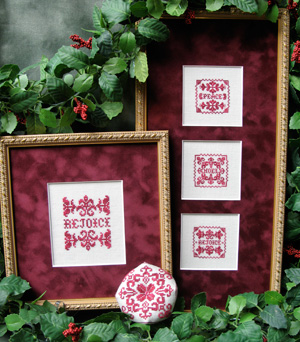 ScissorTail Designs - Christmas Trio-ScissorTail Designs, Christmas Trio, peace, noel, rejoice, ornaments, biscornu, red and white, blackwork, Cross Stitch Pattern
