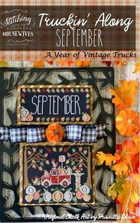 Stitching With The Housewives - Truckin' Along 09 - September-Stitching With The Housewives - Truckin Along 09 - September, pumpkins, red truck, chickens, fall, leaves,