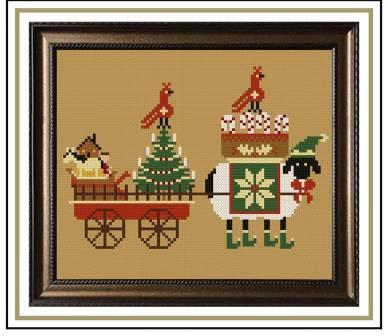Twin Peak Primitives - Christmas Delivery-Twin Peak Primitives - Christmas Delivery, sheep, Christmas tree, wagon, holidays, toys, cardinal, cross stitch