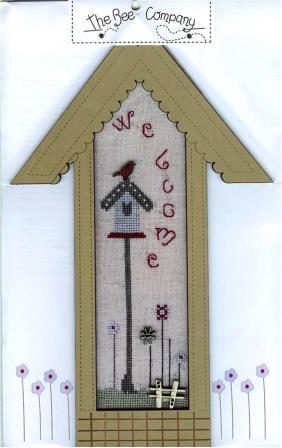 The Bee Company - Long Linen Birdhouse with Frame & Buttons-The Bee Company - Long Linen Birdhouse with Frame  Buttons, blue birdhouse, cardinal, birds, cross stitch