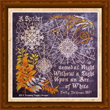 Tempting Tangles - Arc of White - Cross Stitch Pattern-Tempting Tangles, Arc of White, spider webs, halloween, haunted house,  Cross Stitch Pattern