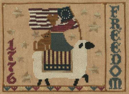 Teresa Kogut - This Land - Cross Stitch Pattern-Teresa Kogut, This Land, patriotic, American flag, freedom, 1776, sheep, kitty, red, white & blue, Cross Stitch Pattern