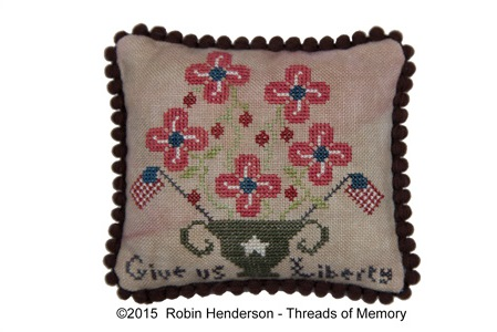 Threads of Memory - Give us Liberty-Threads of Memory - Give us Liberty, America, USA, patriotic, pin cushion,