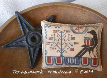 Threadwork Primitives - Beggar\'s 4th - Cross Stitch Pattern-Beggar's 4th, Threadwork Primitives, Beggar's 4th, 4th of july, patriotic, American flag, crow, Cross Stitch Pattern
