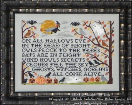 Blue Ribbon Designs - Through The Trees - Cross Stitch Pattern-Blue Ribbon Designs, Through The Trees, Halloween, bats, witch, pumpkin, crows,owls, scary,trick or treat, Cross Stitch Pattern