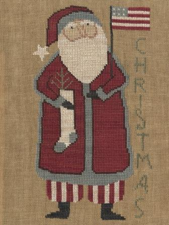 Teresa Kogut - Santa\'s Flag - Cross Stitch Pattern-Teresa Kogut, Santa's Flag, Christmas, Santa Claus, American flag, Cross Stitch Pattern