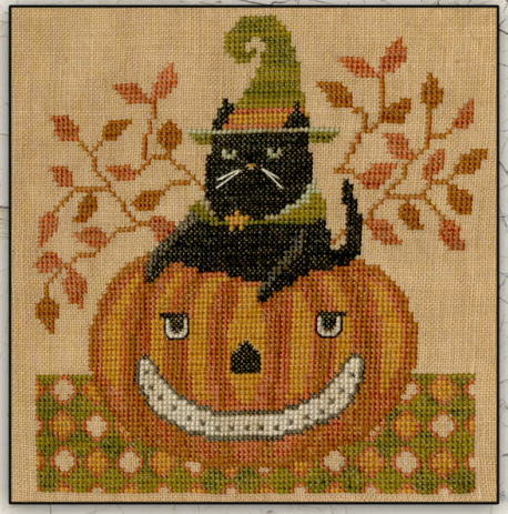Teresa Kogut - Snarky Cat-Teresa Kogut - Snarky Cat, Halloween, pumpkin, black cat, fall, cross stitch