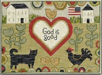 Teresa Kogut - God Is Good-Teresa Kogut - God Is Good, Jesus, American Flag, cat, chicken, chicks, blessings, cross stitch