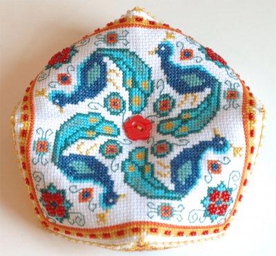 Tiny Modernist - Peacock Biscornu - Cross Stitch Pattern