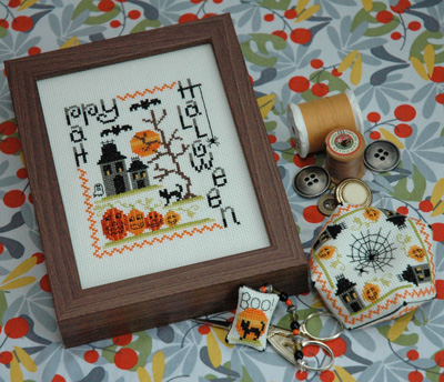 Tiny Modernist - Spooky Halloween Trio - Cross Stitch Pattern-Tiny Modernist, Spooky Halloween Trio, Halloween, pumpkins, haunted house, ghost, bats, black cat, Happy Halloween,  Cross Stitch Pattern
