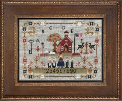 Twin Peak Primitives - Old School on the Prairie-Twin Peak Primitives - Old School on the Prairie, children, school house, American flag, primitive, cross stitch, playground,