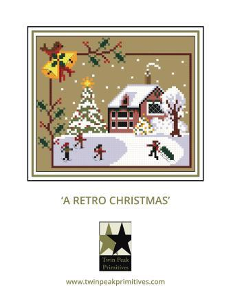 Twin Peak Primitives - A Retro Christmas-Twin Peak Primitives - A Retro Christmas, old time, past, Christmas, winter, snow, cross stitch