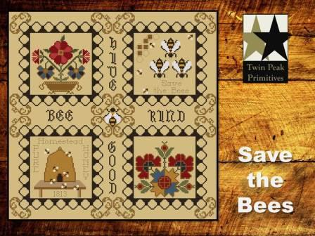Twin Peak Primitives - Save the Bees-Twin Peak Primitives - Save the Bees, honey, pin cushion, bee hive, flowers, bees, cross stitch