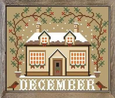 Twin Peak Primitives - I'll Be Home Mystery Series - Part 012 - December Cottage-Twin Peak Primitives - Ill Be Home Mystery Series - December Cottage, calendar, Christmas, house, winter, cross stitch