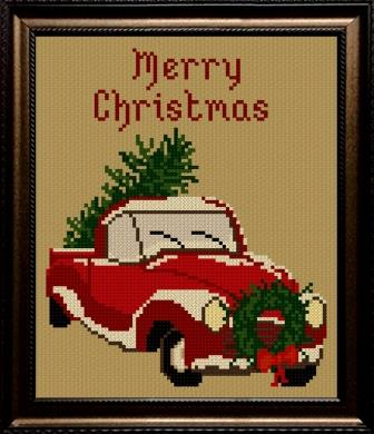 Twin Peak Primitives - Merry & Bright-Twin Peak Primitives - Merry  Bright, Christmas, Christmas Tree, old red truck, cross stitch,