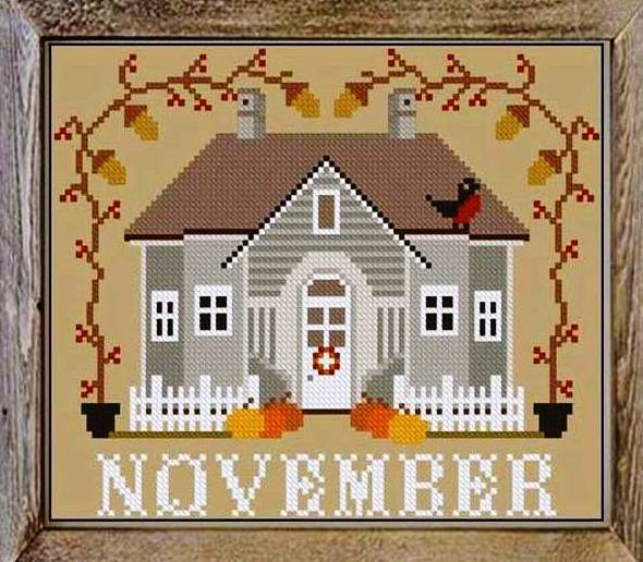 Twin Peak Primitives - I'll Be Home Mystery Series - Part 011 - November Cottage-Twin Peak Primitives - Ill Be Home Mystery Series - Part 011 - November Cottage, calendar, Thanksgiving, fall, cross stitch