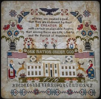 Twin Peak Primitives - One Nation Under God-Twin Peak Primitives - One Nation Under God, America, Prayers, protection, Pledge of Allegiance, cross stitch