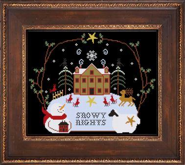 Twin Peak Primitives - Winter Around a Saltbox-Twin Peak Primitives - Winter Around a Saltbox, snow globe, snowman, black, reindeer, house, night, cross stitch
