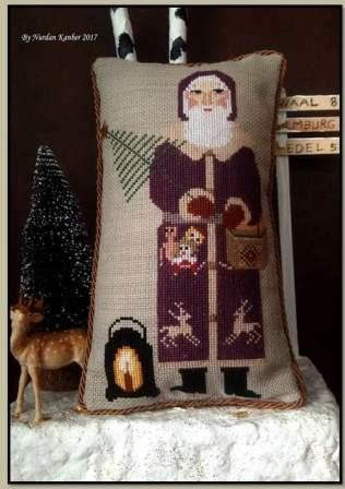 Twin Peak Primitives - Woodland Santa-Twin Peak Primitives - Woodland Santa, forest, Santa Claus, animals, Christmas tree, primitive, cross stitch