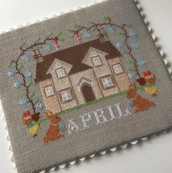 Twin Peak Primitives - I'll Be Home Mystery Series - Part 004 - April Cottage-Twin Peak Primitives - Ill Be Home Mystery Series - Part 004 - April Cottage, calendar, cross stitch