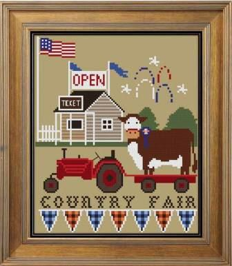 Twin Peak Primitives - Country Fair-Twin Peak Primitives - Country Fair, town fair, animals, 4-k, blue ribbon, cross stitch