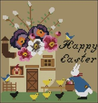 Twin Peak Primitives - Easter Egg-Twin Peak Primitives - Easter Egg, bunny, flowers, Easter, egg house, spring, cross stitch