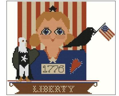 Twin Peak Primitives - Primitive Dolls - Prim Liberty-Twin Peak Primitives - Primitive Dolls - Prim Liberty, 4th of July, Lady Liberty, USA, patriotic, American, cross stitch