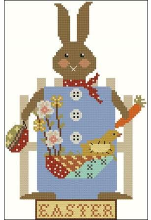 Twin Peak Primitives - Primitive Dolls - Prim Easter 1919-Twin Peak Primitives - Primitive Dolls - Prim Easter 1919, Easter Bunny, spring, flowers, Easter basket, cross stitch