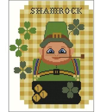 Twin Peak Primitives - Primitive Dolls - Prim Shamrock 1881-Twin Peak Primitives - Primitive Dolls - Prim Shamrock 1881, St Patricks Day, March, leprechaun, cross stitch, 4 leaf clover