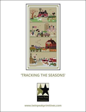 Twin Peak Primitives - Tracking the Seasons-Twin Peak Primitives - Tracking the Seasons, tractors, farm, seasons, cross stitch