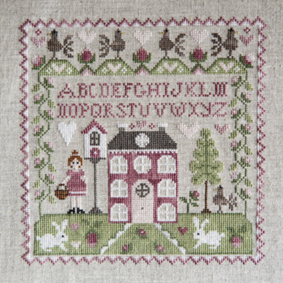 Tralala - Sampler No. 1-Tralala, Sampler No. 1, house, rabbits, bird house, girl with basket, french cross stitch, Cross Stitch Chart