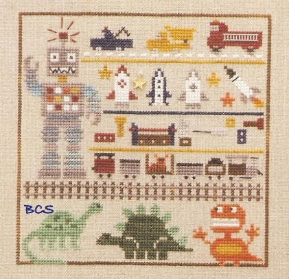 The Trilogy - Boy Line Up - Cross Stitch Pattern-The Trilogy, Boy Line Up, baby birth announcement, baby boy,toy fire truck, toy dump truck, toy tow truck, toy robot, toy rockets, toy tools, toy train, toy train tracks, dinosaurs, scary monsters, Cross Stitch Pattern
