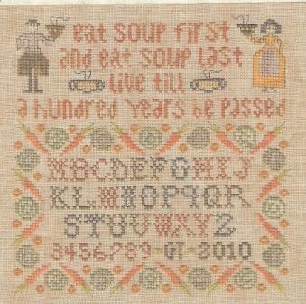 The Sewing Circle - Alphabet Soup - Cross Stitch Pattern-The,Sewing,Circle, Alphabet,Soup,Sampler, live long, man, woman, bowls, carrot, cauliflower, onions,dinner, Cross,Stitch, Pattern,