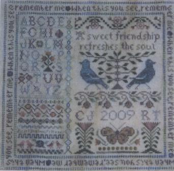The Sewing Circle - Friendship Garden II - Cross Stitch Pattern-The,Sewing,Circle,Friendship,Garden,II, Cross,Stitch,Pattern,blue birds, flowers, verse, butterfly, sampler, alphabet,