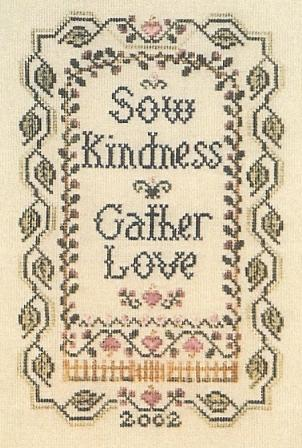 The Sewing Circle - Summer Garden - Cross Stitch Pattern-The,Sewing,Circle,Summer,Garden,Cross, Stitch,Pattern, sow, kindness, love, verse, flowers